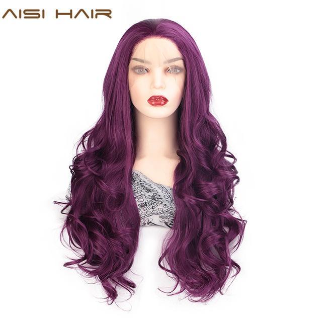 Sintético Lace Wigs AISI cabelo roxo ondulado longo peruca sintética rendas frente perucas para mulheres negras Natural Parte resistente ao calor Fibre peruca