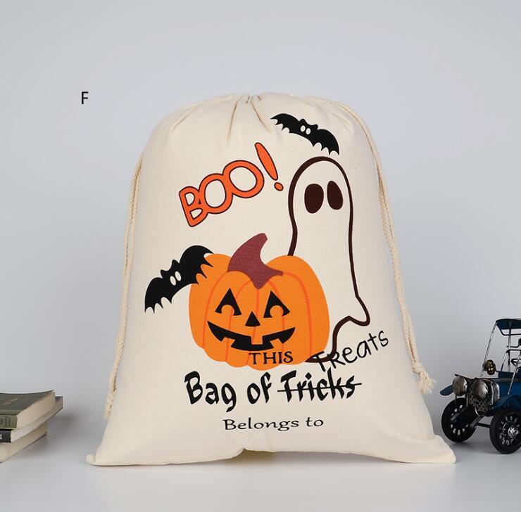Canvas sac halloween sac épaule cordon de dessin animé dessin animé sacs de bonbons cadeau de bonbon pli de haute qualité ddquj