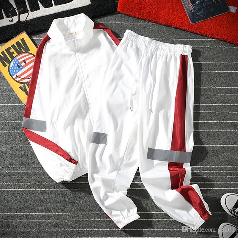 Мужчины Sportswear Set Весна Осень Толстовка Set Mens Tracksuit Лоскутной Hip Hop Блуза + брюки Мужской Повседневная Две пьесы Дорожка костюм