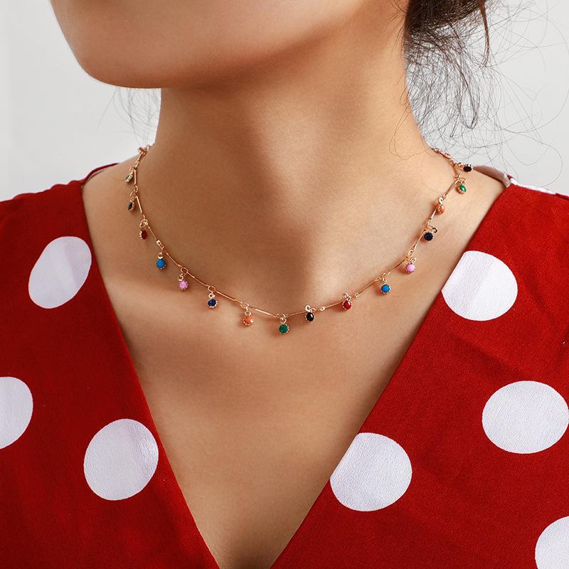 itens da cadeia de pedra bonito e colorido, festa de jóias feitas à mão, bolas de doces coloridos selvagens, colar de camada única