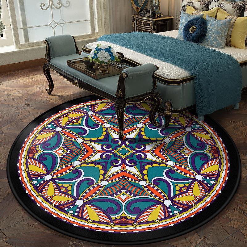 Mandala impreso alrededor Crystal terciopelo Alfombra de habitaciones Tabla estar Dormitorio antideslizante Cafetería Inicio estera del piso de la manta de la decoración