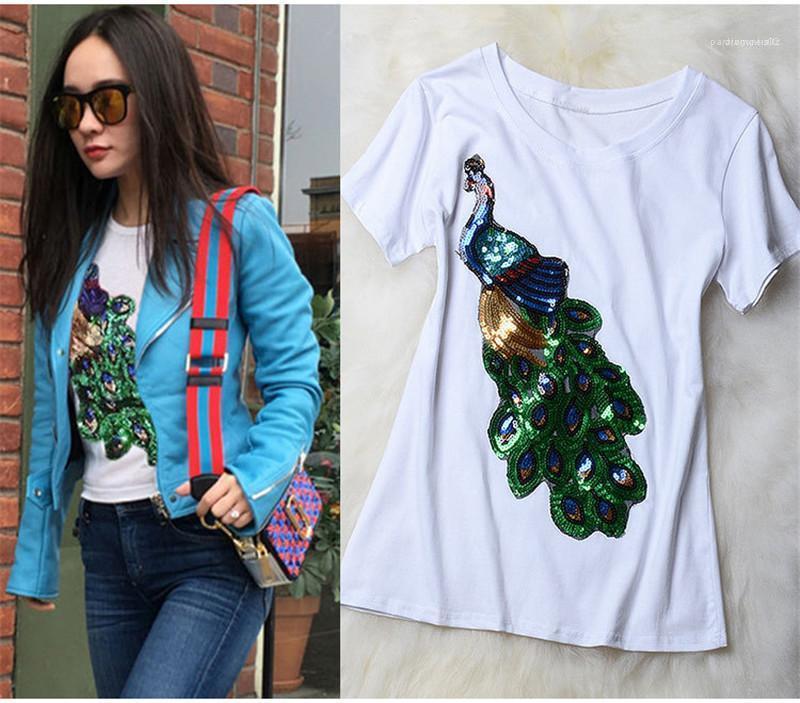 Top stampati moda femminile del collo sottile vestiti donne di squadra di estate del progettista magliette a maniche corte Paillettes Peacock