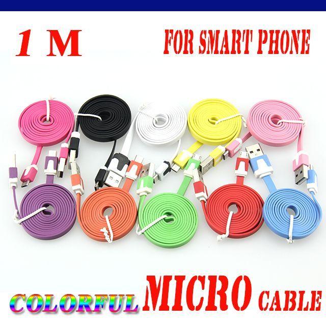 Android Akıllı Telefon 100pcs için Sync Veri Kablosu Kablosu Şarj Erişte 1M Mikro USB Şarj