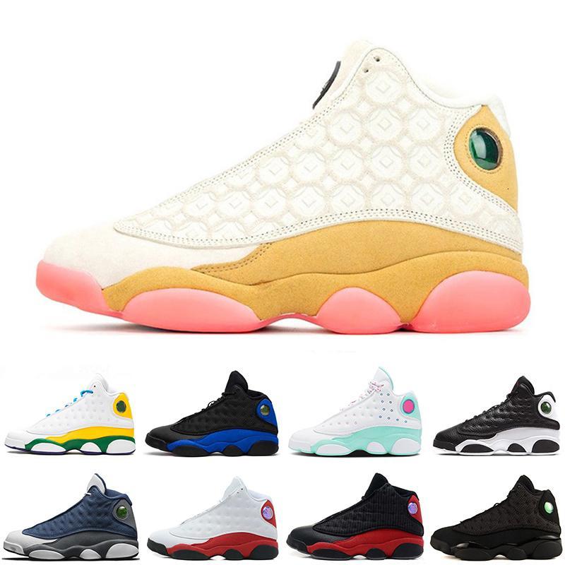 Hiper Kraliyet Şanslı Yeşil Chicago Mahkemesi Mor Lakers Erkek Spor Tasarımcı Sneaker Rakipler 2020 Yeni 13 13s Flints Bred Cny Erkekler Basketbol Ayakkabı