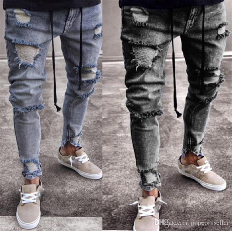 Fashion Street Mens pantaloni da uomo Designer Jeans Moda Distrressed Zipper Fly metà di vita Skinny Jeans Pencial