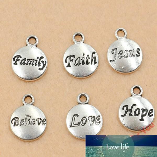 120pcs Tibet Gümüş El Yapımı 11.5x15.5mm Takı Yapımı Faith İsa Umut Sevgi Yuvarlak Charm Kolye Takı inanın