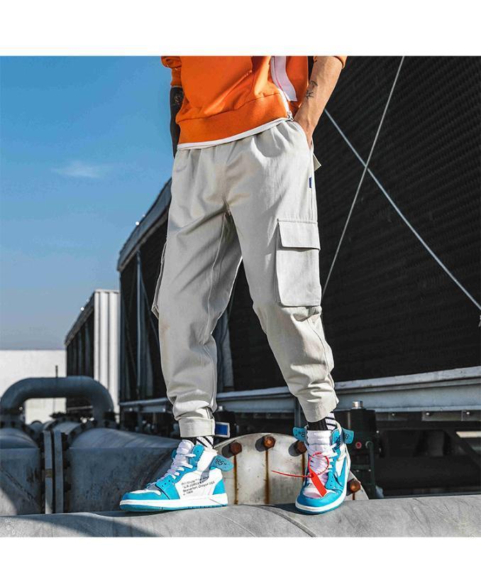 Calças 2020 Novo Multi-bolso Roupa Moda soltas Casual calças largas-Leg