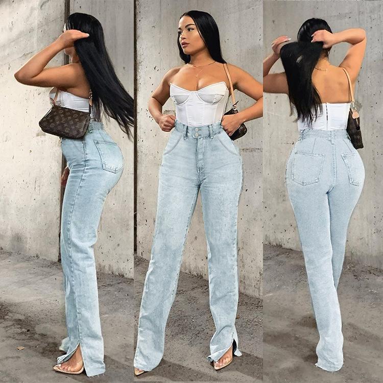 Женские джинсы женщины с высокой талией повседневная весна и осень моды промытые огорченные джинсовые брюки брюки офисная леди твердый цвет прямой