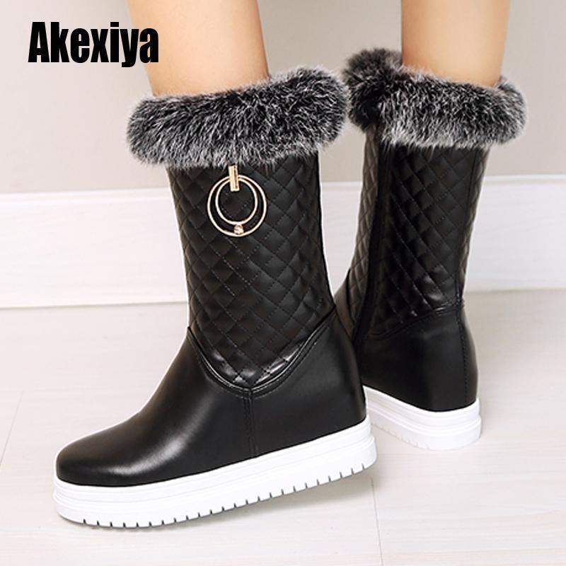 2020 новых женщин сапоги Зимние теплые ботинки снега Faux женщин пу голеностопного Женский зимняя обувь Botas Mujer Плюшевые обувь Женщина u703