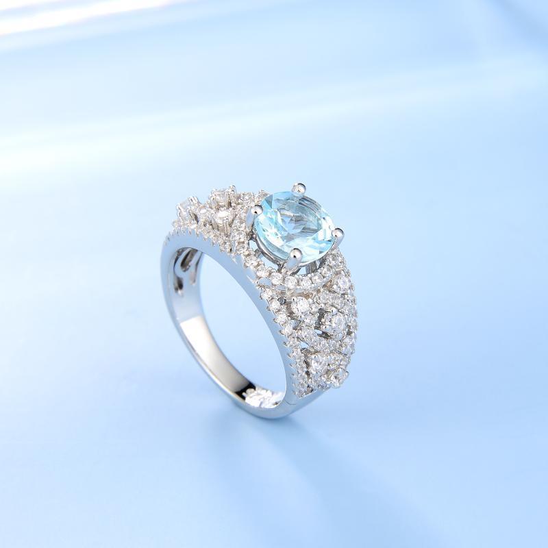 GEM'S BALLET naturel Ruby Topaz grosseurs Argent 925 Halo Bagues de fiançailles pour les femmes Bague à pierre précieuse Fine Jewelry
