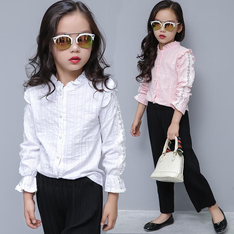 Blusa de la muchacha de los cabritos del algodón blusas sólidas para niñas Nueva Otoño completa mangas camisas para la muchacha rosada dulce de vestir de los niños