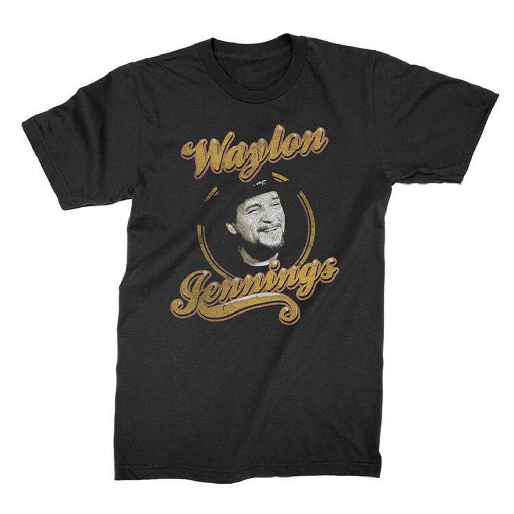 Waylon Jennings - Kopf-Kreis-T-Shirt S-M-L-XL-2XL neue offizielle Kings Road Merch Cotton T-Shirt M 2XL 90XL