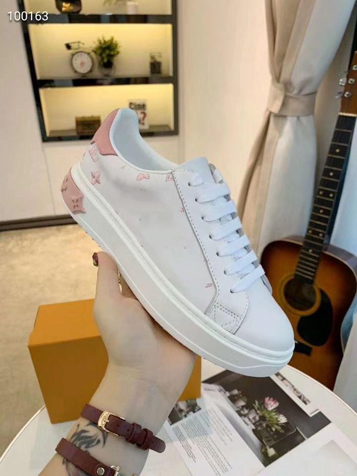 Louis Vuitton Scarpe di alta qualità di cuoio di modo donne degli uomini delle scarpe da tennis Appartamenti Pattini degli addestratori Casual Tennis Dress Sneaker MJH04