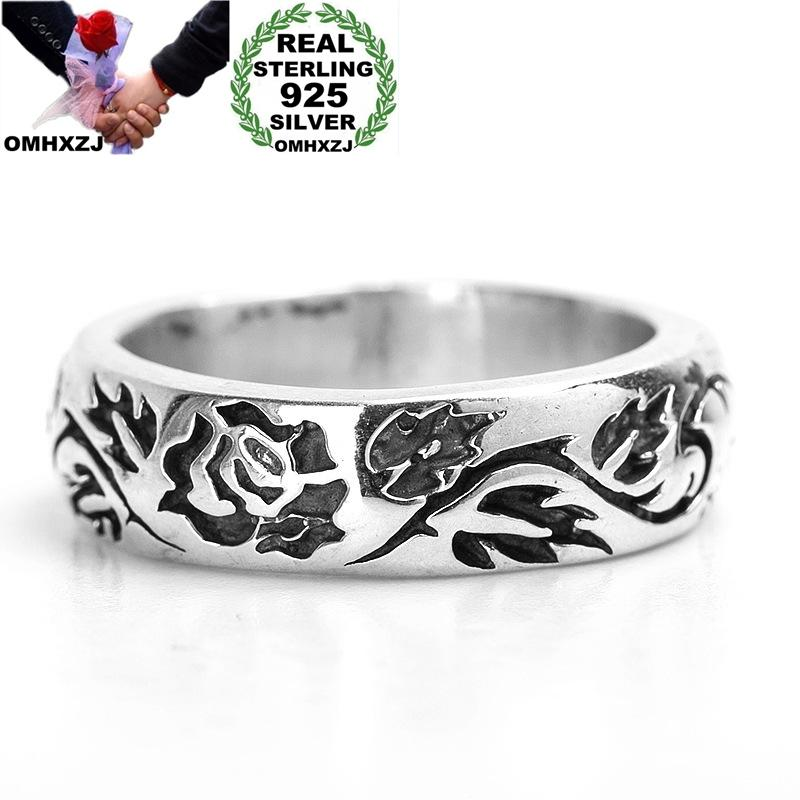 OMHXZJ Wholesale RR1181 European Fashion Hot Fine Woman Man Party Birthday Wedding Gift Vintage Rose 925 Sterling Silver Ring