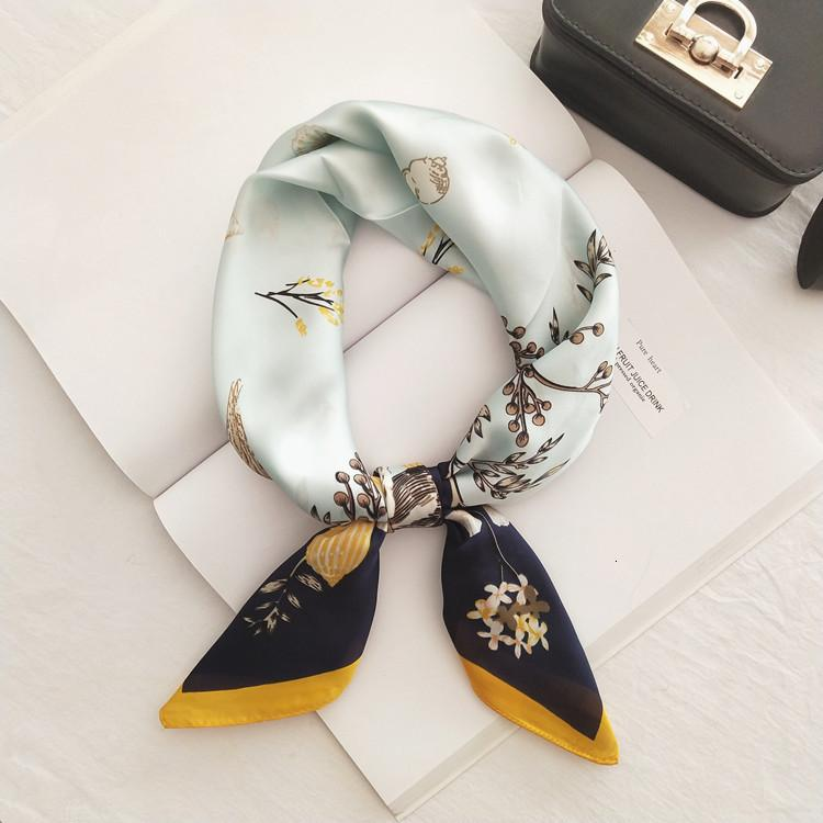 Ins Women's Square Fashionable All-match Korean Style Silk-like Small Spring and Autumn Scarf