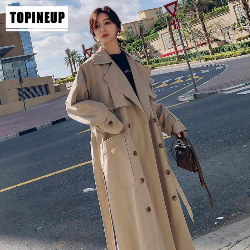 Women's Elegant and simple solid color double-breasted Loose long over-the-Knee Coat