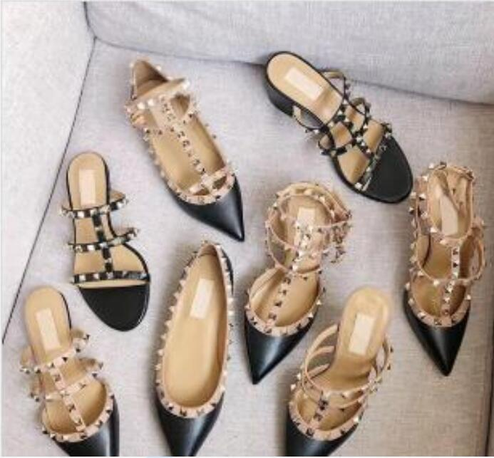 2020 Designer sandals Spikes High Heels 2-6-10 cm Genuine leather Sexy Dress Shoes High Heels Women Shoes Nude Black Pump Patent strap Shoes