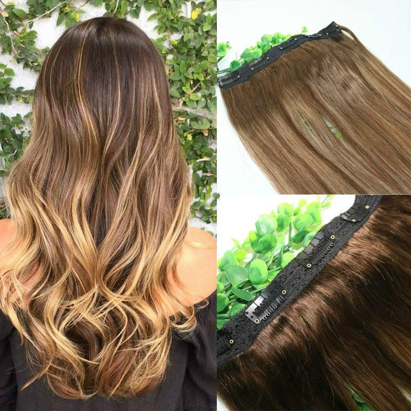 Ombre fresa Honey Blonde Con Brown destacados de una pieza de clip en extensiones del 5Clips con el cordón del cabello humano por pieza pelo humano de Remy