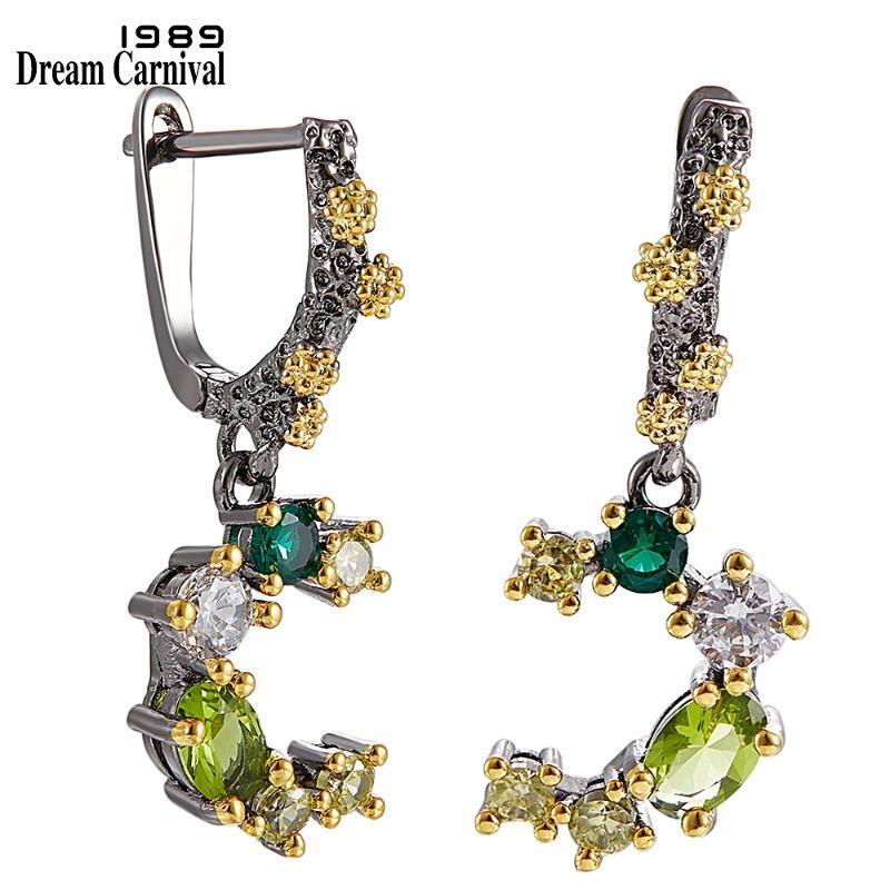 Qualità Orecchini DreamCarnival1989 marca superiore per le donne Festa di fidanzamento di nozze tono verde Colori Zirconi WE3948 Gioielli