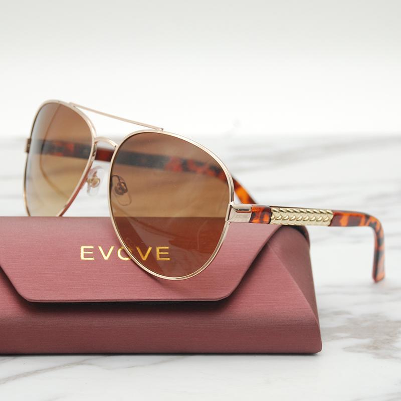 Evove Moda Güneş Kadınlar Bayanlar Güneş Gözlükleri Kadın 2020 Kahverengi Unisex Erkek Havacılık Büyük Boy RxGJX