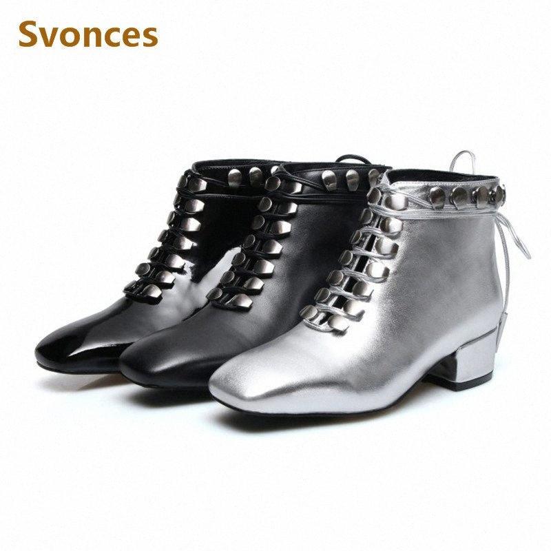 Femme Bottes Courtes Noir Plein Argent lacent véritable Taille en cuir verni Botas New Goujons Mode plus 43 Chaussures Femmes Chaussures MVM4 #
