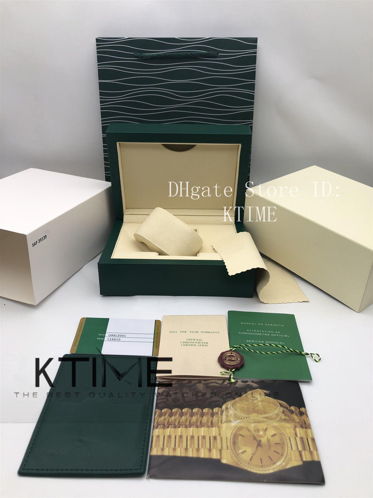 Mejor calidad superior verde oscuro reloj Caja de regalo de madera de embalaje caso para Rolex 116610 Caja de folletos tarjeta de Etiquetas y papeles Wipe Caja de reloj de tela Relojes