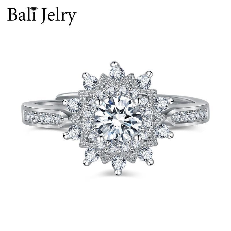 Bali Jelry luxe Charm Anneaux 925 bijoux en argent flocon de neige Zircon Gemstone ouvert Accessoires Anneau pour les femmes d'engagement de mariage