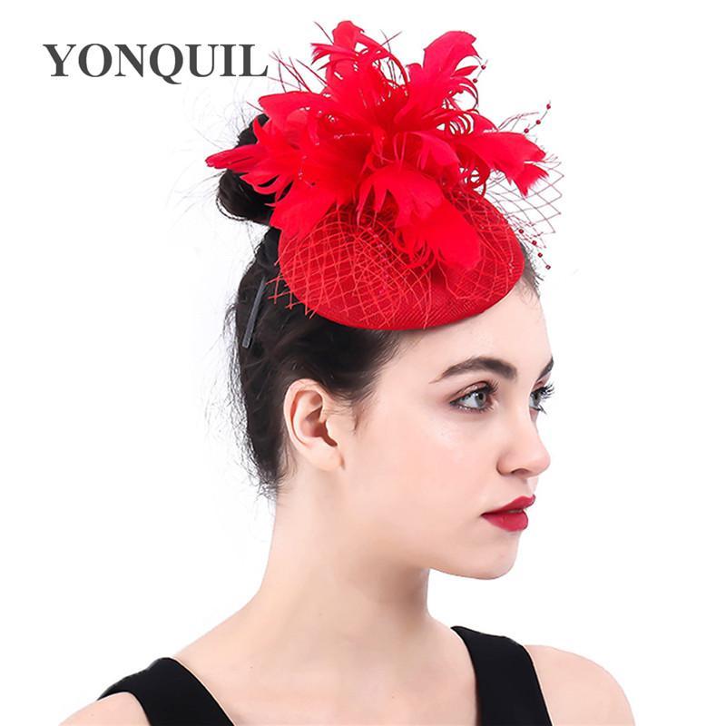 Noir tache rouge plume pilulier chapeau bibi cheveux courses vintage ascot 40s 1662