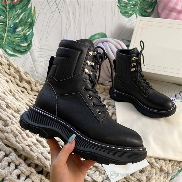 Sapatos botas de amarrar extragrandes Martin para as Mulheres couro tornozelo botas com Chunky Sole botas com caixa Tamanho 35-40