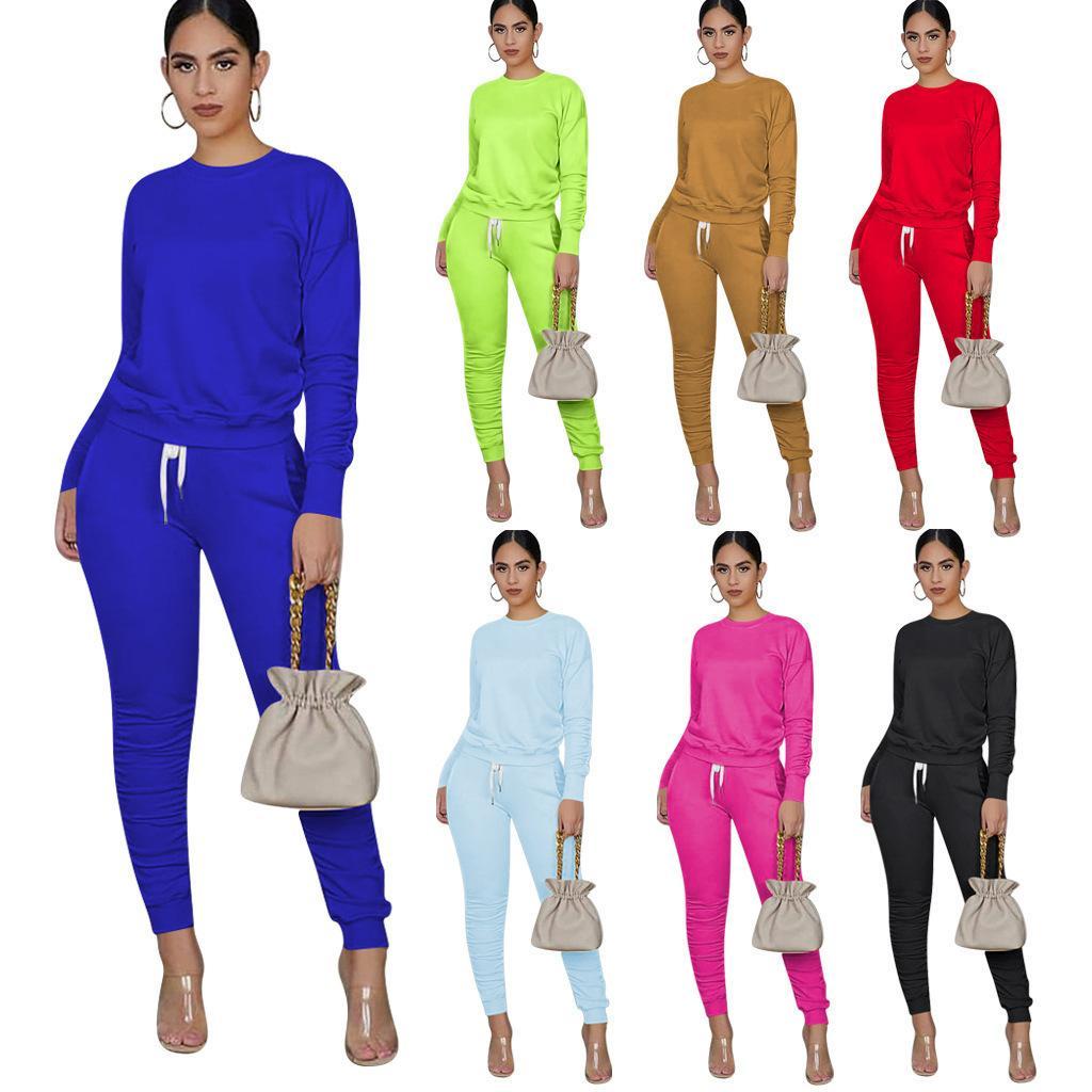 Designer Frauen 2-teiliges Set Tracksuits Fest Farbe langärmelige Pullover Sport beiläufige Herbst Frühling Sport Outfits Plus Size Kleidung