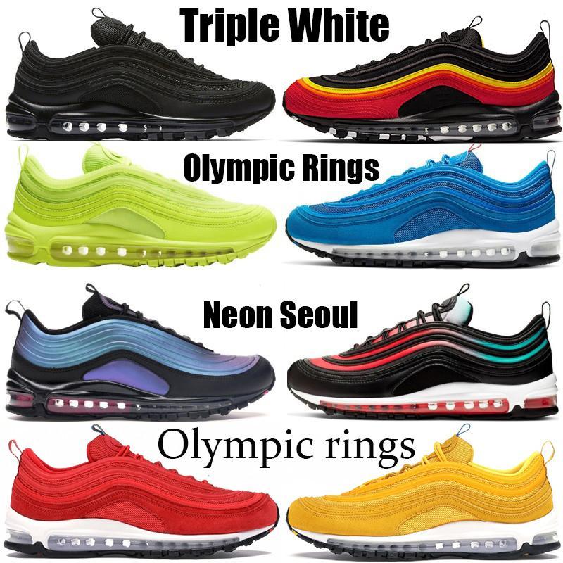جديد 97OG الاحذية الصهارة أورانج رجل إمرأة الثلاثي البيضاء الساخنة السوداء فولت النيون سيول وسادة تنفس الاولمبية الولايات المتحدة الأمريكية ساوث بيتش أحذية رياضية