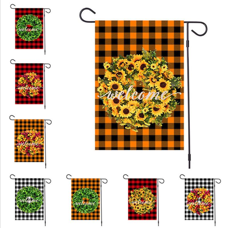 2020 Merry Christmas Garden Flags ornament Xmas Garland Plaid Designers Banners 47x32cm Hanging Banner Flags Party Outdoor Decoration D92506
