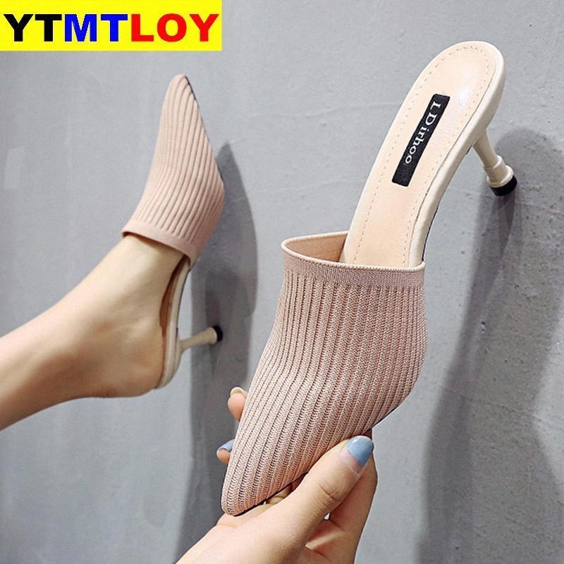 Sapatos Moda Mulheres Sandálias de Verão do partido do salto alto Stiletto Plano Casual Verão Sandals Mulheres Salto Alto Gladiator tecido stretch xks5 #