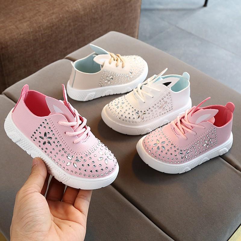 2020 autunno della neonata Anti-Slip Camminare casuale scarpe di strass soled molli Primi camminatori agio con ear design Shoes 2020