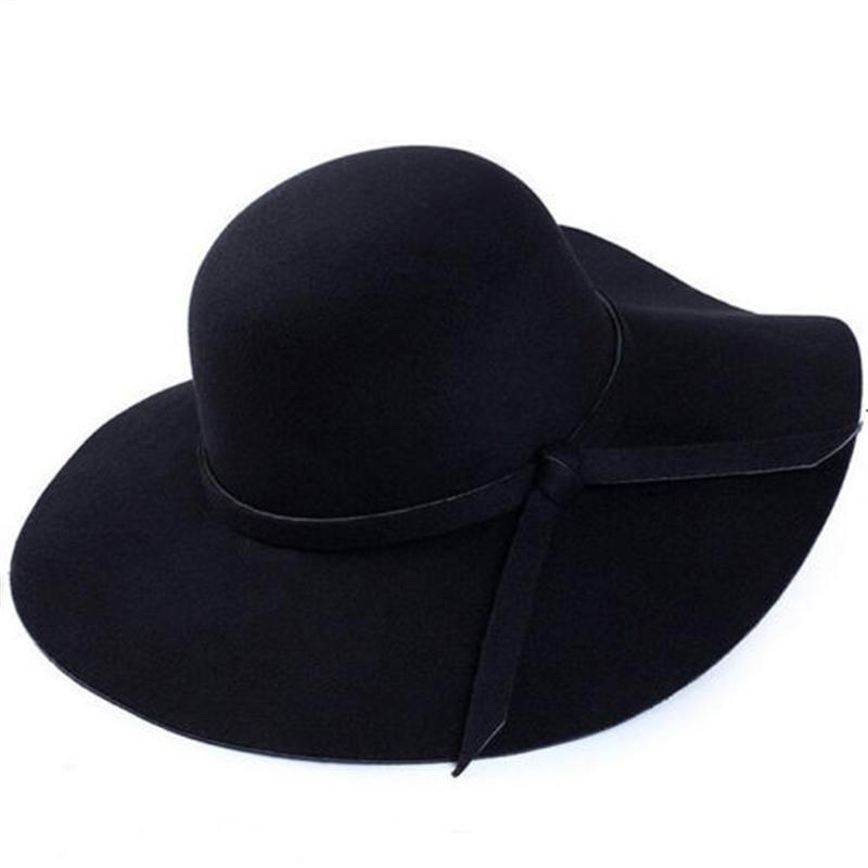 Moda Donna Fedoras Floppy Bowknot Cloche Cap larga di lana in feltro Brim bombette Fedora signore vacanza all'aria aperta cappello del partito