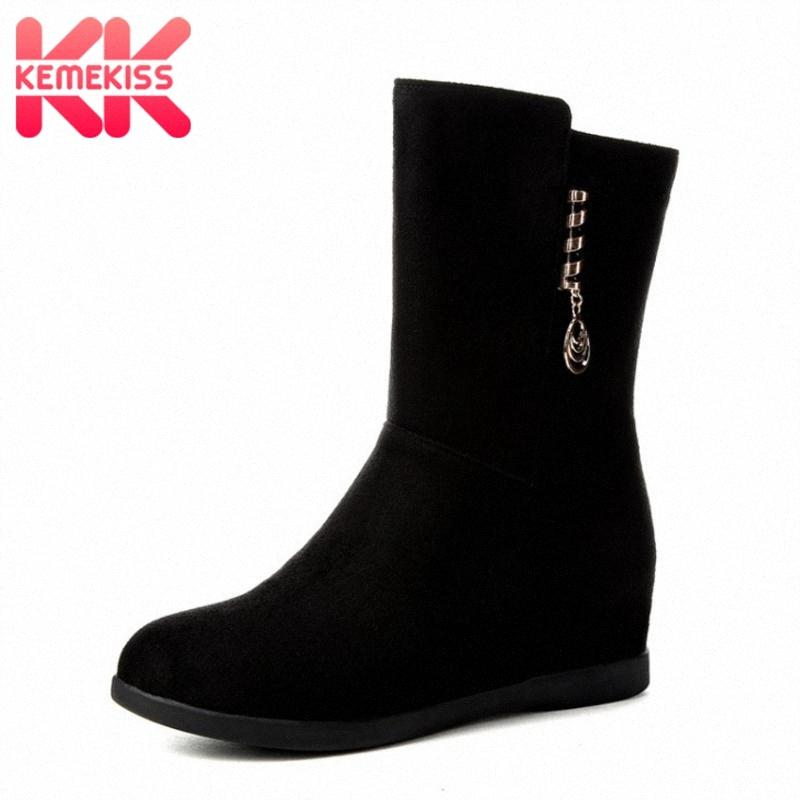 KemeKiss Size 33 43 Women Mid Calf Boots High Heels Female Buckle Winter Warm Fur Shoes Woman Wedge Zipper Half Short Boots Snowboard lHLy#
