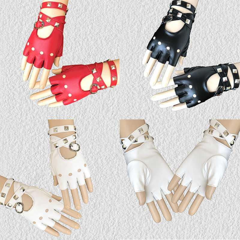 Medieval Gothic Punk Style Fingerless Gloves Women Sexy Disco Dance Rock-and-roll Fingerless Short PU Leather Gloves Black Red