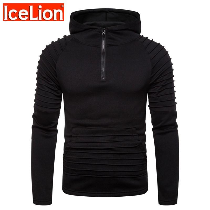 IceLion 2020 Hoodies Männer Wintet Mode Hoodys Zipper Cardigan Solid Color Sport Falten Slim Fit Herrenanzug