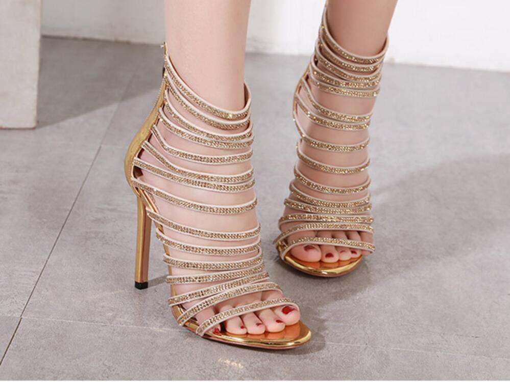 Sexy ankle wrap sandals clear heels fashion luxury designer shoes gladiator women platform wedges size 35 to 41 07