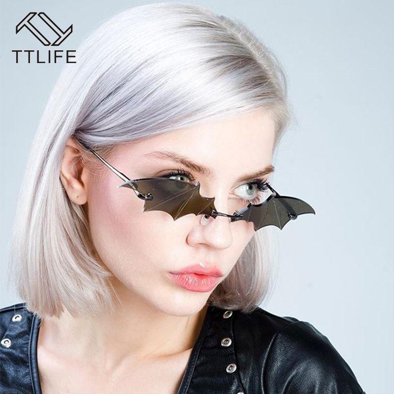 TTLIFE 2020 femmes lunettes de soleil cool Creative Batwing Lunettes hommes Tendance Vintage Rimless lunettes Tendance Ladies Outdoor Lunettes de soleil