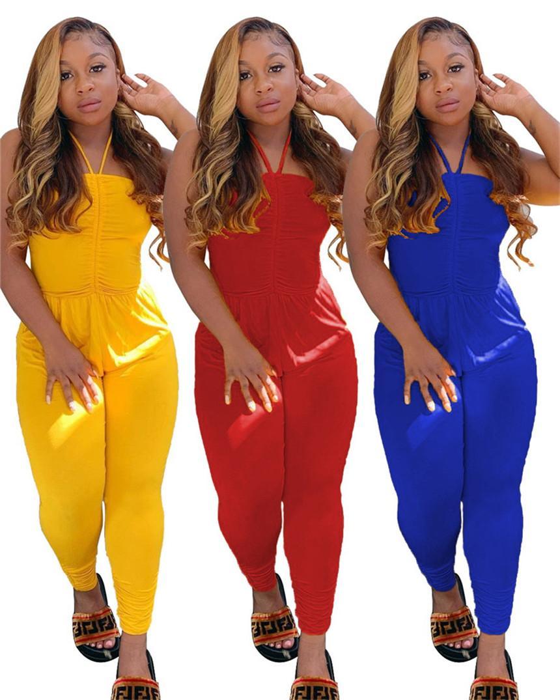 Las mujeres más del tamaño color sólido del mono de espagueti atractivo de la correa mamelucos ocasionales sin respaldo Onesie mangas del verano de una pieza de los pantalones 3792