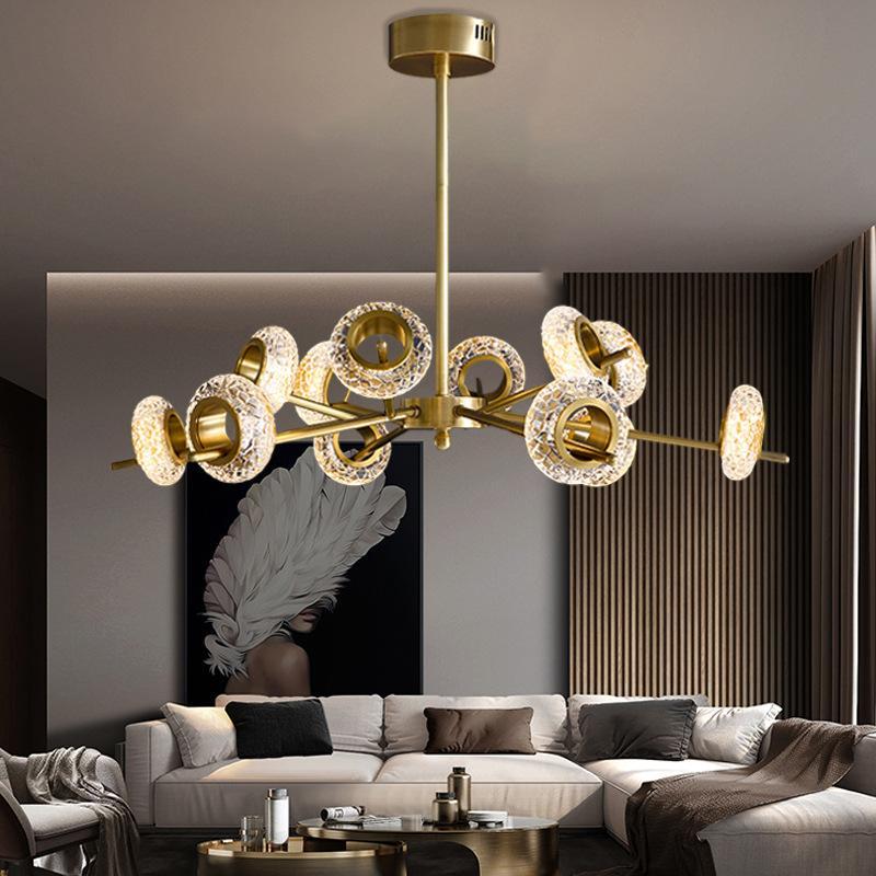Postmodern avize tüm bakır ışık lüks kristal lamba basit bir atmosfer oturma odası lamba İskandinav restoran lamba net moleküler yönetilen kırmızı
