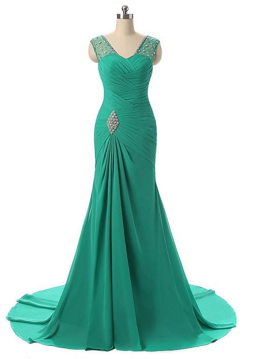 Aturde gasa escote en V de la sirena de los vestidos de noche Con Listones blusa acanalada ilusión Volver con cristales vestido de fiesta vestido de Formatura