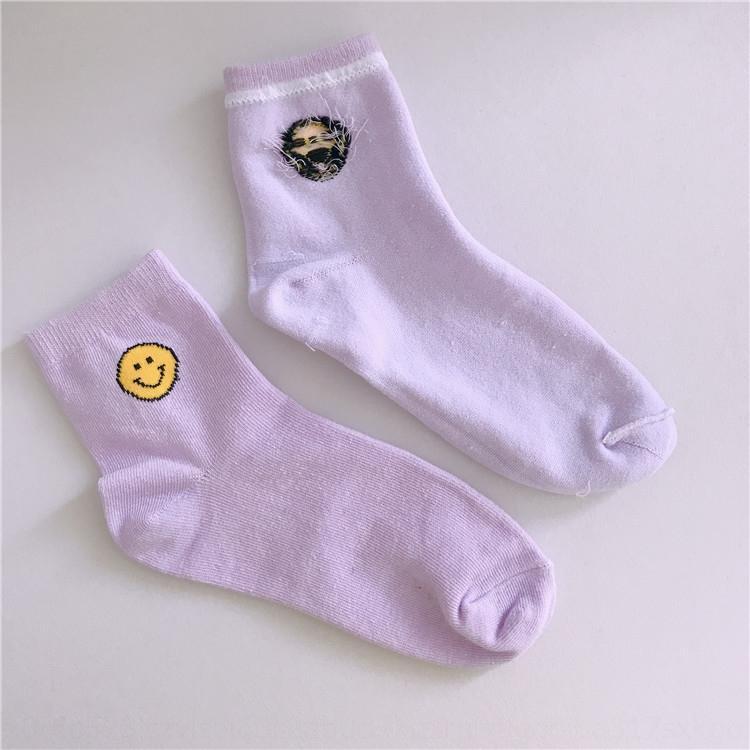 La primavera y el verano de las nuevas mujeres sonriendo algodón transpirable calcetines calcetines ocasionales mediados de tubo de sudar-absorbente algodón de la cara kXgB0