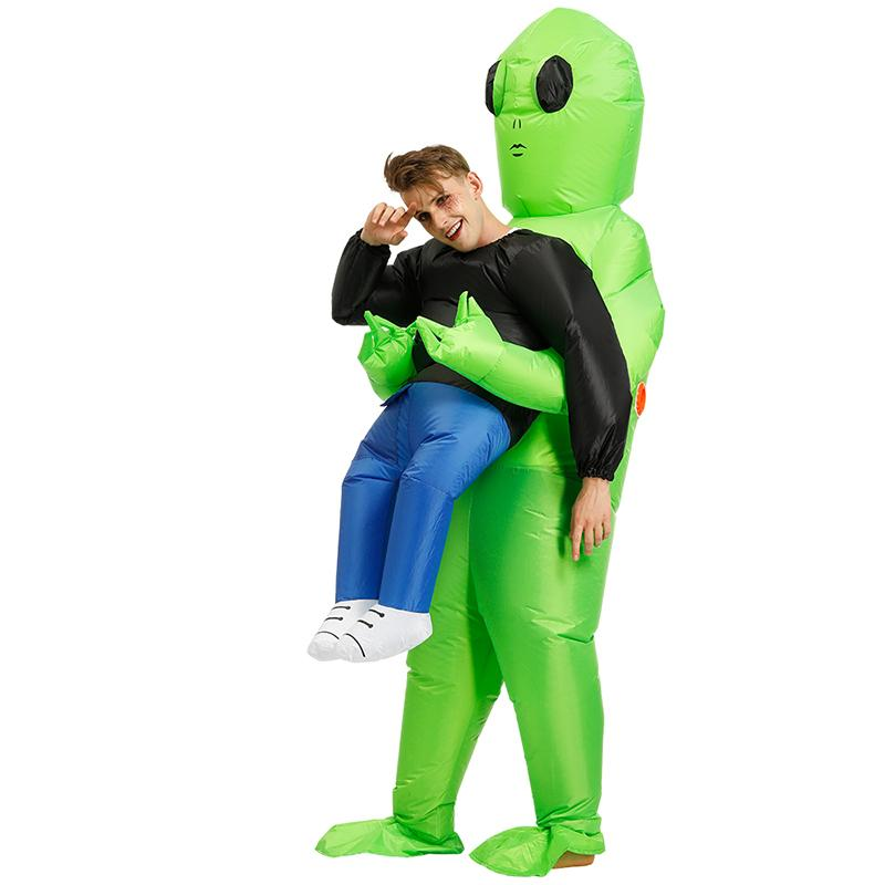 Alien Mascot Costume Green Alien Carrying Human Adult Inflatable Costume Anime Cosplay For Man Women Halloween