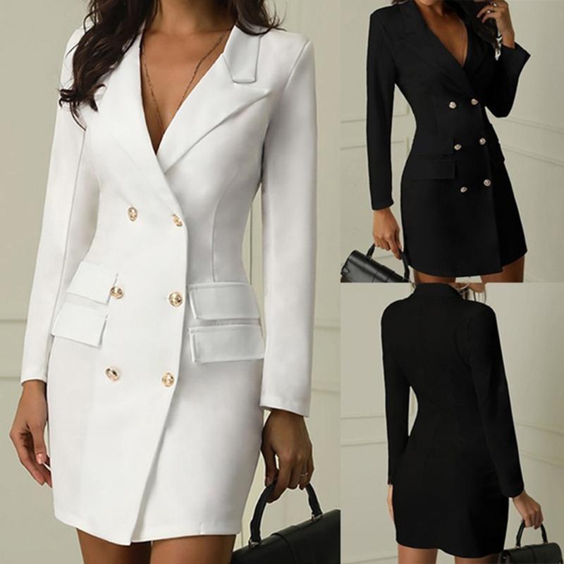 Женщины накидки женщин 2021 повседневная сплошные куртки женские элегантные двубортные длинные пальто дамы плюс размер пуговицы платье стиль