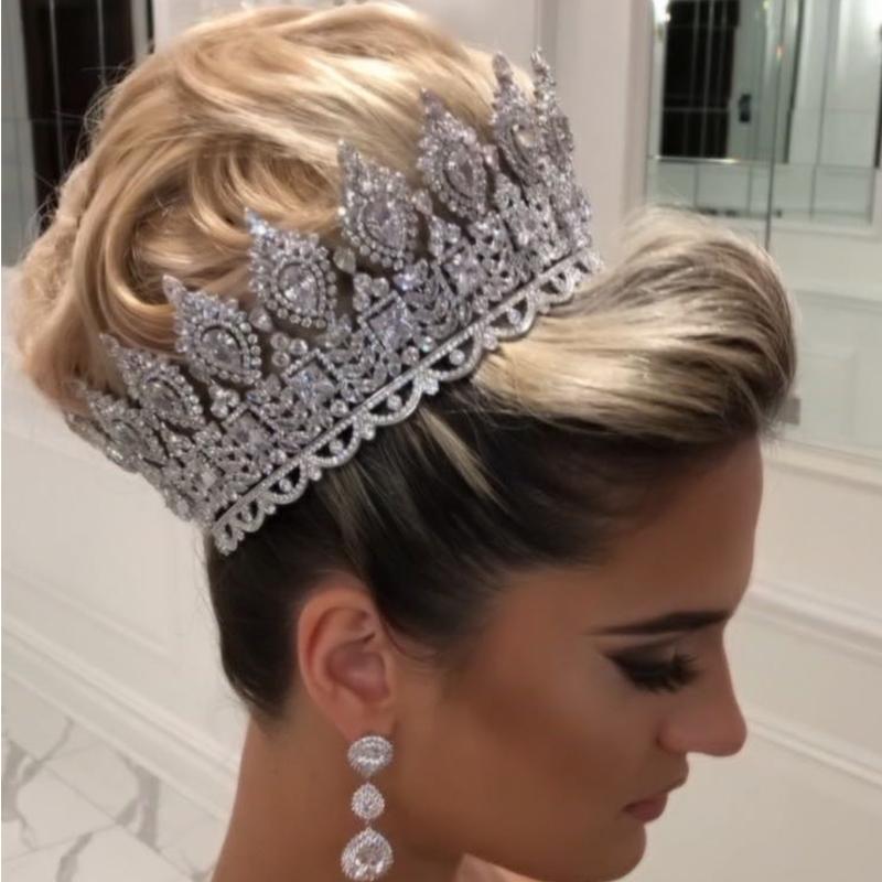 Мода роскошный свадебный аксессуары для волос женские свадебные диадемы и короны сценические награды Круглый королева корона ретро мужская корона