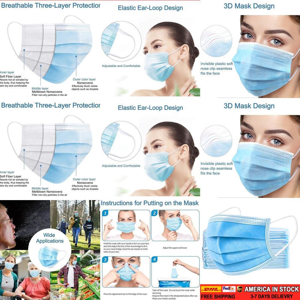 100 / 50Pcs descartável Máscara 3 Ply Earloop Dental Hipoalergênico respirabilidade Comfort respirável Beleza Poeira L6KAR 8SNC
