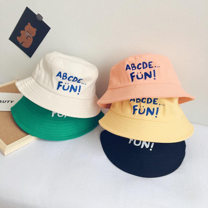ins seau chapeau parasol vent enfants lettrage clair été unisexe mode chapeau seau Tong Pingding