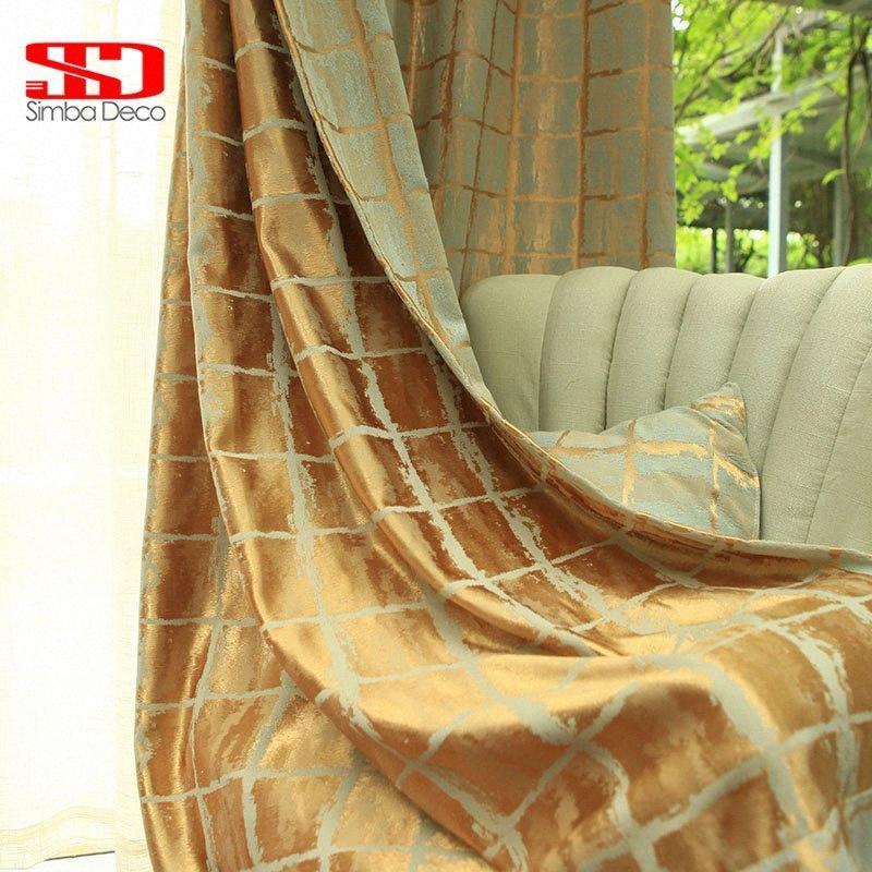 Elegante geométrico moderno Cortinas de acabado de la sala de estar Cocina cortinas de oscurecimiento seda oro de la ventana Panel simple 877C #